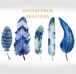 set of blue watercolor feathers