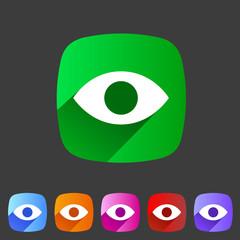 Eye, watch, visitor icon flat web sign symbol logo label
