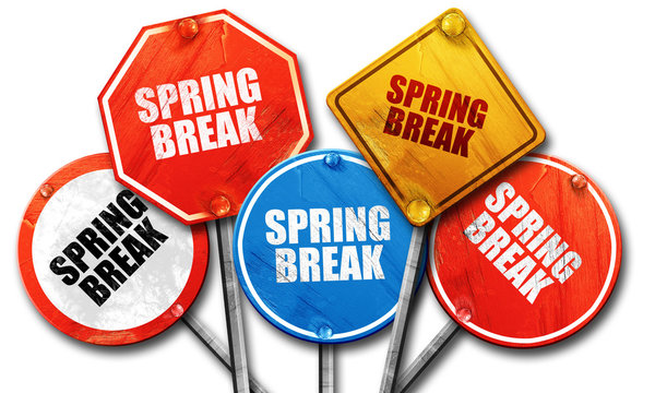 spring break, 3D rendering, rough street sign collection