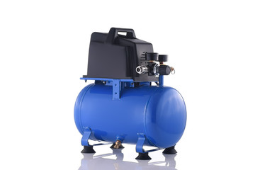 Small blue compressor side view isolated on white background
