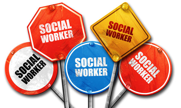 social worker, 3D rendering, rough street sign collection