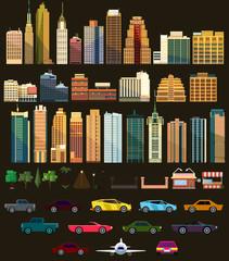Big set with city elements. Vector illustration
