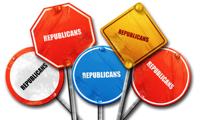 republicans, 3D rendering, rough street sign collection