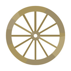 Cart-wheel icon cartoon. Singe western icon from the wild west set.