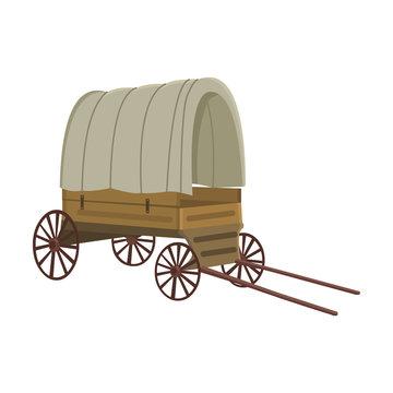 Cowboy wagon icon cartoon. Singe western icon from the wild west set.