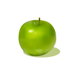 attractive green apple with shadow