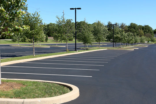 summertime empty parking lot