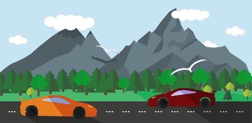 Flat design  landscape illustration with red and orange sport car and nature
