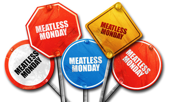meatless monday, 3D rendering, rough street sign collection