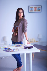 woman in modern equipped art studio