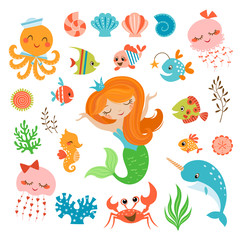 Mermaid and sea friends