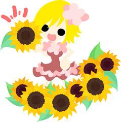 A cute little girl and a garden of sunflower