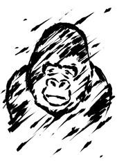 Sadly gorilla illustration brush style black color isolated on white background