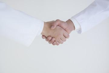 握手する2人の医師の手元