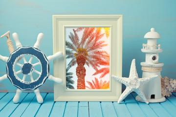 Poster mock up template with palm tree image and summer home interior decorations