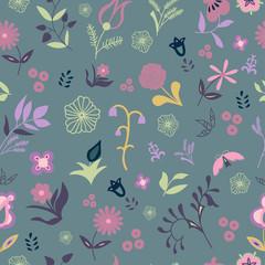 Vector flower seamless pattern.