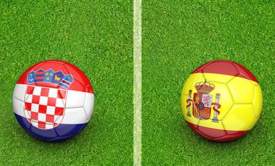 Team balls for Croatia vs Spain football tournament match, 3D rendering
