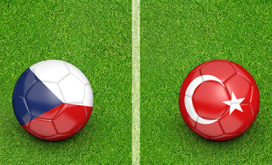 Team balls for Czech Republic vs Turkey football tournament match, 3D rendering