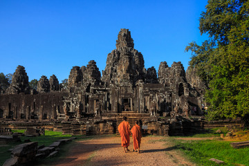Bayons Angor Wat, ancient architecture in Cambodia