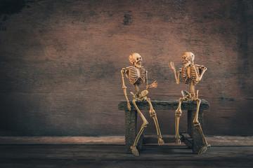 Skeleton talk greet each other, Halloween