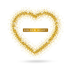 Vector gold heart on transparent background