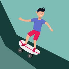 boy riding skateboard from high hills
