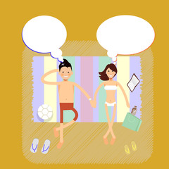 Couple on tropical beach - vector characters thinking about
