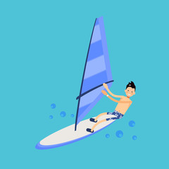 Vector male character in flat style - illustration of a windsurf