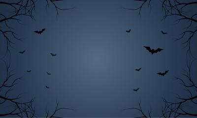 Bat flying Halloween in blue sky