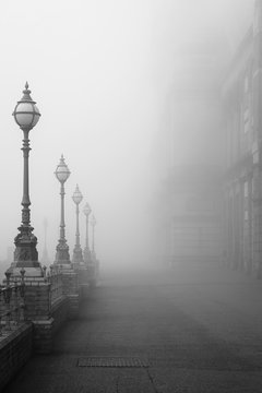 Lamps in a fog.