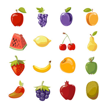 Fruit icons in cartoon style. Fruit for healthy life and cartoon sweet nature fruit. Vector illustration
