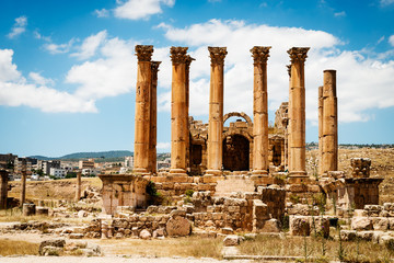 Temple of Artemis in the ancient Roman city of Gerasa,  Jerash, Jordan.