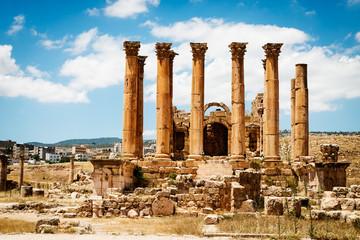Temple of Artemis in the ancient Roman city of Gerasa,  Jerash, Jordan.