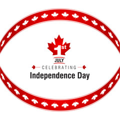 1st of July Canada Independence Day Abstract background. Canada Day Queen Day creative backdrop. Canadian Day background, banner, greeting card template. Symbol red background. Vector Illustration