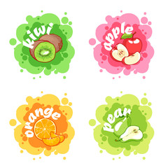 Four stickers with different fruits. Kiwi, apple, orange and pea