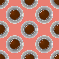 Coffee cup pattern. Cute background with cup. Coffee collection.