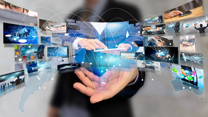 businessman holding virtual screen. business and networking conc