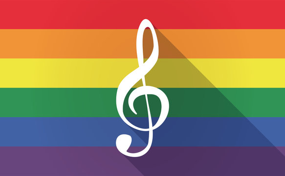 Long shadow Gay Pride flag with a g clef