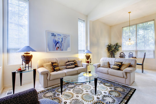 Bright white and blue living room with glass coffee table and ru