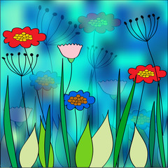 bright vector blooming flowers illustration