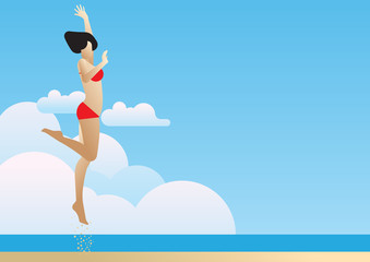 summer beach woman jump side view