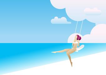 summer beach woman swing wind