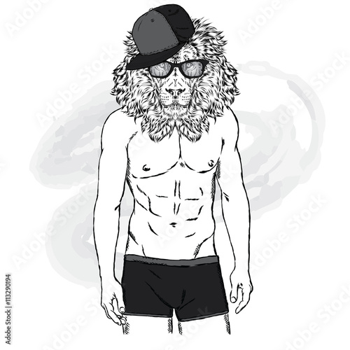 Lion with a human body in swimming trunks the man with a beautiful lion with a human body in swimming trunks the man with a beautiful body m4hsunfo