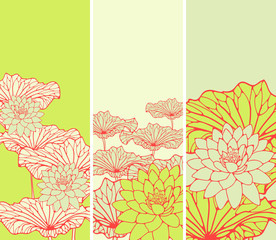 a set of Asian style floral bookmarks with lotus flowers and leaves in red, and fresh green shades