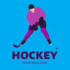 Vector logo hockey player. Brand logo themes hockey