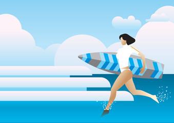 summer sea run woman surfboard wave