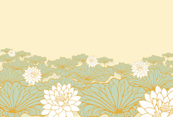 a field of lotus poster background in soft blue, ivory and gold