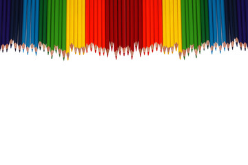 Colored pencils arranged in a row on a white background.