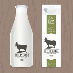 Eco design concept for milk bottle and packaging. Set of milk bottle. Concept packaging of milk. Healthy lifestyle. Idea for branding, packaging, web, website, advertising, advertising booklets.