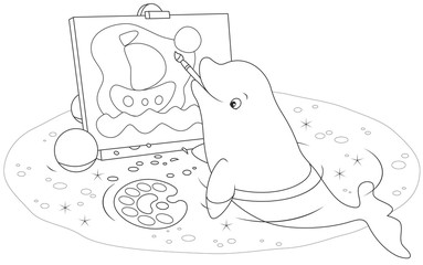 beluga whale drawing a picture with a brush and paints